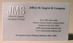 Engraved business card with blind embossed monogram. Printed on laid paper. Designed and printed by Larry B. Newman Printing Company.