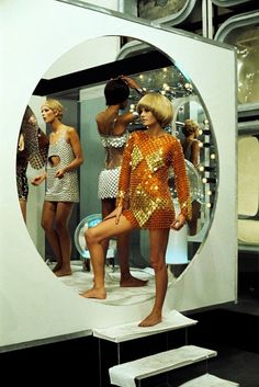 Models carrying dresses Paco Rabanne rest on the set 'DIM DAM DOM'. televesion show in February 1969 in Paris, France.