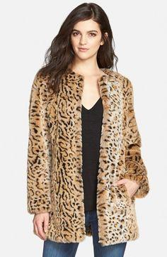 Steve+Madden+Faux+Fur+Leopard+Print+Coat+available+at+#Nordstrom