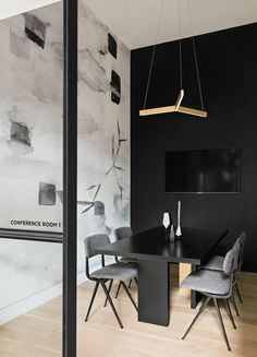 The New Work Project in Brooklyn is a modern co-working space with a black and white interior design, made for creatives to get work done. Workspace Design, Home Office Design, Home Office Decor, Office Ideas, Apartment Interior Design, Modern Interior Design, Interior Styling, Modern Interiors, Luxury Interior