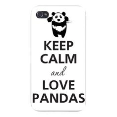 "Apple Iphone Custom Case 5 / 5s White Plastic Snap on - Keep Calm and Love Pandas Black & White. FITS IPHONE 5 AND 5S. SNAP ON BACK PLATE. Measures 4.87"" x 2.37"", Hard plastic, durable and lightweight. Protects edges and back of phone from bumps and scratches. Compatible with Iphone 5 / 5S universal Sprint - AT&T - Verizon."