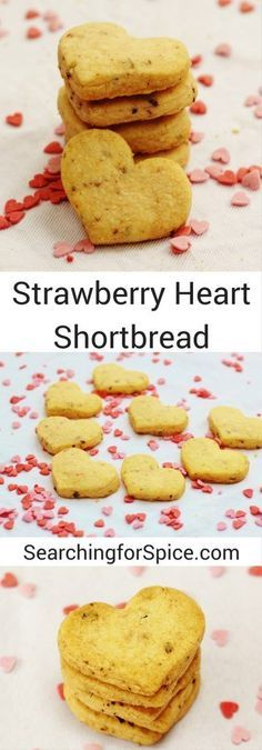 Strawberry Heart Shortbread Biscuits. These cute cookies are perfect as a sweet bite-sized snack or why not give as a gift? #ValentinesDay #Recipe #Cookies #Biscuits #HeartCookies #ValentinesRecipe