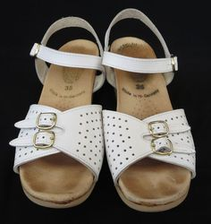 fe0cca2568c Worishofer Size 5 35 Women s White Leather Sandals with Straps  amp  Cork  Wedge Heels Shoes