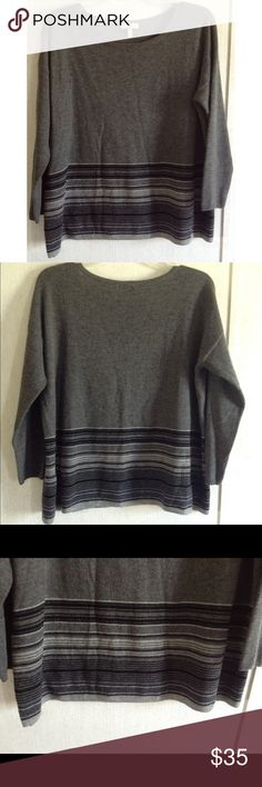 Joie Cashmere Blend Striped Sweater Good condition. A couple of small holes on the back, one near the shoulder, one near the center of the lower back. Minor pilling under the arms. Really nice Joie pullover sweater. 90% wool, 10% cashmere blend, extremely soft. Gray with black and white stripes near the bottom. Wider boat/bateau neck style. 3/4 length sleeves. Size medium. All offers welcome Joie Sweaters Crew & Scoop Necks