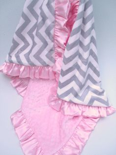 Grey and White Chevron Minky with Pink Minky Dot by MinkyBabyGifts
