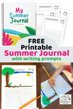 This free printable summer journal is compete with 30 writing prompts with a summer theme, perfect for keeping children learning all summer long. This blog post also shares the writing development for children so you can see exactly where your child is on his writing journey, and where he is headed. Summer Journal, My Journal, Journal Prompts, Journal Pages, Writing Prompts, Homeschool Kindergarten, Homeschooling, Personal Dictionary, Teaching Letters