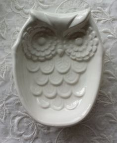 Owl White Spoon Rest Soap Dish Trinket Dish by Angelheartdesigns, $18.00