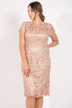 36a57971be R M Richards Long Plus Size Formal Stretchy Evening Dress. Short Lace Mother  of Bride Dress - The Dress Outlet Mocha May Queen