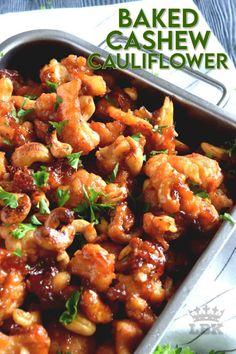 Cauliflower Dishes, Baked Cauliflower, Vegetable Dishes, Vegetarian Chinese Recipes, Vegetable Recipes, Veggie Meals, Vegetarian Dinners, Vegetarian Food, Vegan Food