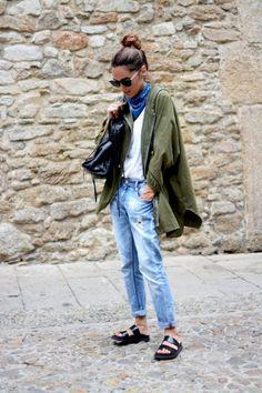 STYLECASTER   Fall Fashion 2017   How to Wear Bandanas and Neckties   Blue Bandana and Green Summer Parka