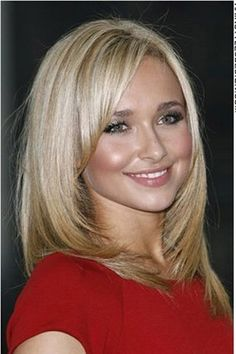 This is a cool, trendy hairstyle as Hayden Panettiere has her hair medium length and