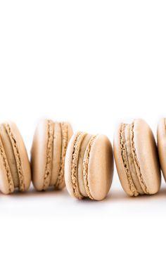 Salted Caramel Macarons - Beyond Our Sky - Sweet Treats Caramel Recipes, Almond Recipes, Prismacolor, Salted Caramel Macaron, Chocolates, Brown Food Coloring, How To Make Macaroons, Crescent Cookies, Caramel Buttercream