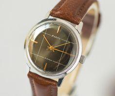 Sleek men's watch Rocket black face wristwatch by SovietEra