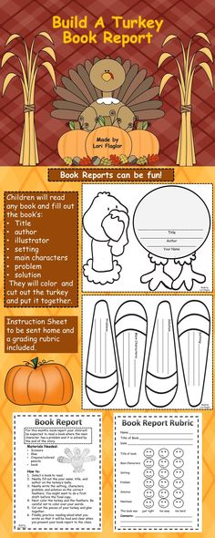 Book reports can be fun! This could be used for menu assignments for differentiation.  Pick which to use to build your turkey.