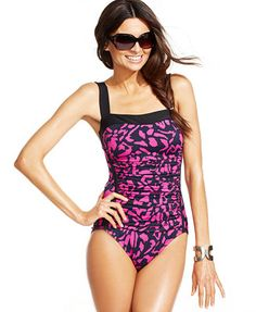 eb4af4d21d846 INC International Concepts Printed Ruched One-Piece Swimsuit Women -  Swimwear - Macy s