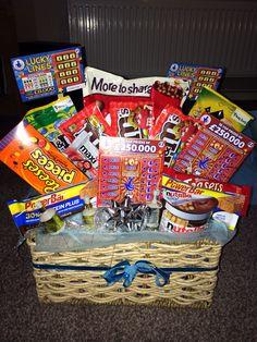 Boyfriend hamper i made for boyfriends birthday. Full of his favourite sweets