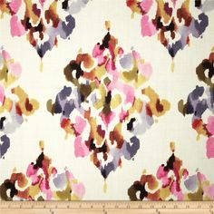 Screen printed on cotton; this versatile medium/heavyweight fabric is perfect for window accents (draperies, valances, curtains and swags), accent pillows, duvet covers and upholstery. Create handbags, tote bags, aprons and more. Colors include black, olive, orange, gold, purple, fuchsia and white.