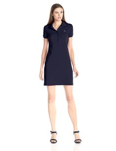 Lacoste Women's Short Sleeve Pique Polo Dress >> Don't get left behind, see this great  product : Women's dresses