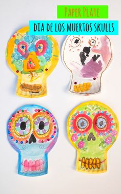 Paper Plate Dia De Los Muertos Skulls- Beautiful and easy craft to celebrate this holiday Paper Plate Crafts For Kids, Easy Crafts For Kids, Art For Kids, Kid Art, Kid Crafts, Halloween Activities For Kids, Craft Activities, Preschool Crafts, Autumn Activities