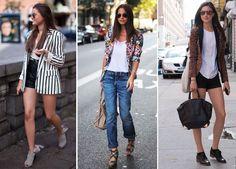 Como usar blazer no verão - Blog de moda ensina como usar blazer colorido, neutro e estampado nos dias quentes. Fotos de looks com blazer