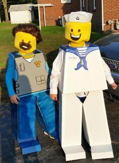 Lego men halloween costumes- police/sheriff & navy/sailor  Bakingbadgewife.com
