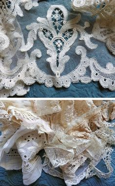 Antique French Lace Tulle Net Frilly Shabby by AntiqueDelights, $58.00