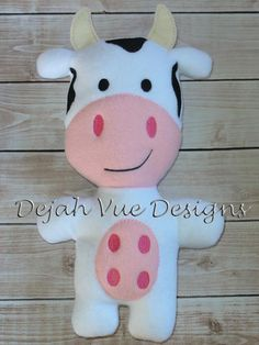 Cow ITh Stuffie Embroidery Design