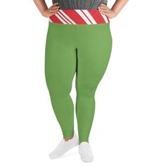 Plus Size Christmas Leggings, Holiday Candy Cane, Green, All-Over Print Plus Size Leggings Plus Size Christmas Dresses, Christmas Leggings, Holiday Candy, Plus Size Leggings, Piece Of Clothing, Candy Cane, Stretch Fabric, Soft Fabrics