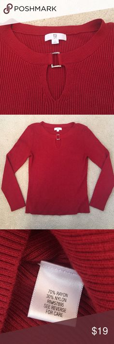 Key Hole Top, Red, with Silver Hardware Perfect for the holidays! This gorgeous top is from Apt 9 and is long sleeve. Very good condition with only slight pilling (as seen near tag). Oblong key hole makes for a very flattering look. Apt. 9 Sweaters