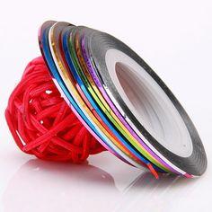 10pcs Popular nail decal rolls striping tape line nail sticker nail art decoration diy nail accessories suppliers JH014