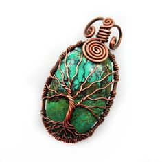 Natural Turquoise tree of life pendant by DreamingTreesJewelry, $128.00