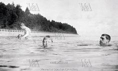 Prince Edward of Wales swimming. Osborne, England, 1905
