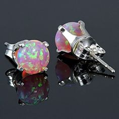 1.3 carats Fiery Pink Opal Crown Set Stud Post by 1000jewels, $25.00