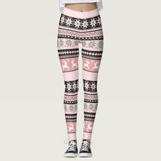 Shop Blush Fair Isle Pattern Leggings created by Personalize it with photos & text or purchase as is! Mom Outfits, Cute Outfits, Coloured Leggings, Fair Isle Pattern, Womens Workout Outfits, Sports Leggings, Look Cool, Dressmaking, Pattern Leggings