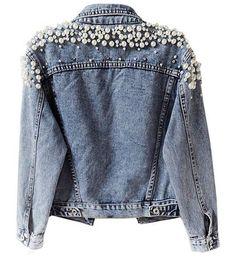 Customised Denim Jacket, Elisa Cavaletti, Embellished Jeans, Denim Coat, Denim Fashion, Custom Clothes, Casual Outfits, Etsy, Pearl Bridal