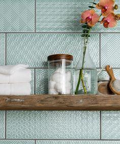 Attingham™ Seagrass Geometric Decor Tile…I'm thinking s… I love these ….Attingham™ Seagrass Geometric Decor Tile…I'm thinking splashback Kitchen Splashback Tiles, Splashback Ideas, Backsplash Arabesque, Wall Tiles For Kitchen, Shower Splashback, Colourful Kitchen Tiles, Patterned Kitchen Tiles, Arabesque Tile, Shower Tiles
