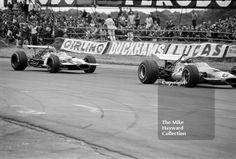 Bruce McLaren, #McLaren M7C, and Jacky Ickx, #Brabham BT26, Silverstone, 1969 British Grand Prix. #f1 #formula1