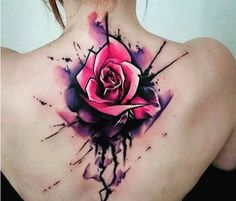 Watercolor Flower Tattoo On Back for Women