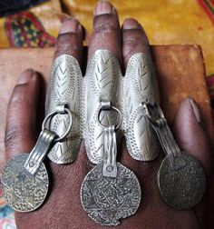 Berber Old 3finger Ring with Coins, Adjustable at the back, Moroccan Sahara