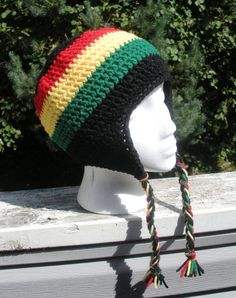 Unisex crochet Rasta earflap beanie in solid black with by luvbuzz,