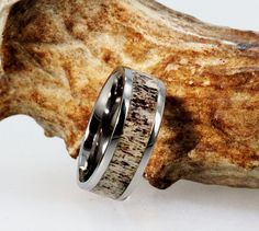 Tungsten Ring with a Deer Antler Inlay by jewelrybyjohan on Etsy, $396.00