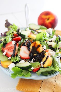 Fresh Strawberry and Peach Salad with Goat Cheese and Balsamic...