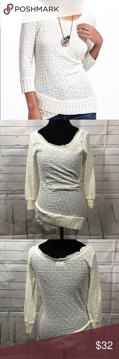 """Deletta lace overlapping scoop neck sweater anthro Deletta Anthropologie Women's Overlapping Lace Scoopneck Top ivory white color. Size Large  Armpit to Armpit-18"""" overall length-21"""" Anthropologie Sweaters Crew & Scoop Necks"""