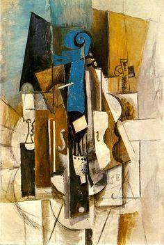 """Pablo Picasso - """"Violon au cafe (Violon, verre, bouteille)"""". 1913"""