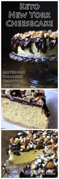 My PCOS Kitchen - Ke  My PCOS Kitchen - Ke  My PCOS Kitchen - Ke  My PCOS Kitchen - Keto New York Cheesecake - This decadent sugar-free and gluten-free cheesecake is the perfect treat for any day of the week! Who doesn't love a Low Carb Cheesecakes! via My PCOS Kitchen