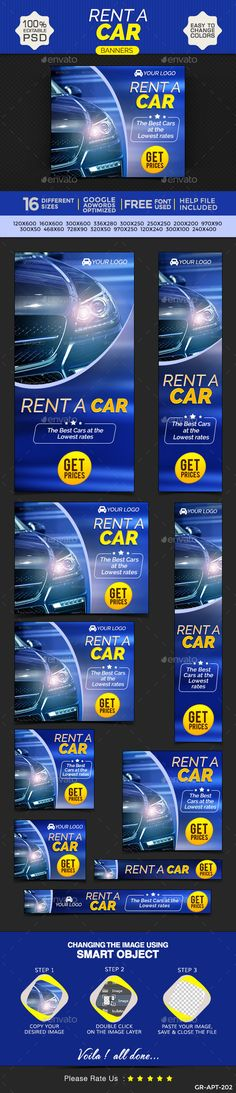 Car Rental Web Banners Template PSD | Buy and Download: http://graphicriver.net/item/car-rental-banners/9697790?ref=ksioks