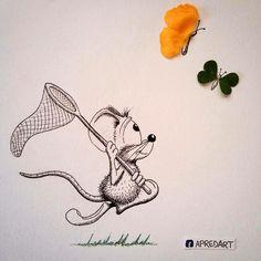 Это работа художника Лоик Преда, ему 26 лет и он художник-самоучка из Швейцарии. Однажды он наступил на канцелярскую кнопку…. Было очень больно и Лоик подумал, что если так больно ему, то что бы почувствовала мышь? Тогда он взял ручку и сделал первый рисунок. Так родился Rikiki. https://www.instagram.com/apredart/