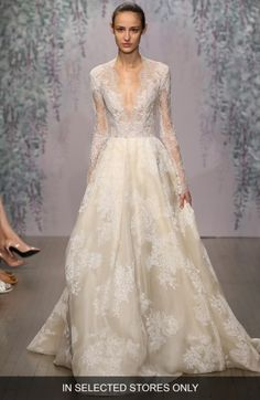 Free shipping and returns on Monique Lhuillier 'Winslet' Plunging V-Neck Organza & Lace Ballgown Dress (In Stores Only) at Nordstrom.com. This wedding gown can't be purchased online but is available for special order in our in-store Wedding Suites. Special orders ship within 8–16 weeks. Please call 1.888.300.1295 to find a Wedding Suite near you or Book an appointment online.The iconic romance of a long-sleeve gown takes a modern, sultry twist with a plunging V-neckline cut into a...