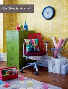 Mix vibrant colours and geometric prints for a vibrant living room design scheme. Image by John Lewis.