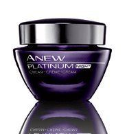 ANEW Platinum Night Cream by Avon. $18.50. TWO WEEK SUPPLY. ANTI-AGING MOITURIZERS. Skin care for women age 60 and beyond. A breakthrough so advanced, it reshapes anti-aging science. Platinum recaptures the look of youthful contours. 1.7 fl. oz. THE BREAKTHROUGH TECHNOLOGY: Avon's first-ever patented Paxillium Technology is formulated to boost the production of paxillin* by 60%.** Drapes skin in a veil of plush softness. 80% of women agree skin around the neck looks ...